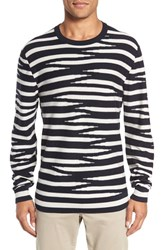French Connection Men's 'Tiger Stripes' Crewneck Sweater