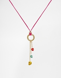 Adele Marie Rope Charms Necklace Red