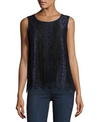 Max Studio Two Tone Lace Sleeveless Blouse Navy Bla