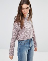 Cheap Monday Crop Sweatshirt Rose Quartz Pink