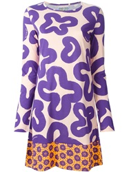 Walter Van Beirendonck Vintage Printed Dress Pink And Purple