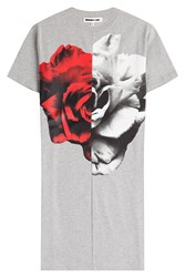 Mcq By Alexander Mcqueen Mcq Alexander Mcqueen Split Printed Cotton T Shirt Dress Grey