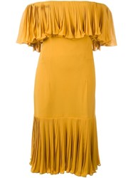 Jean Louis Scherrer Vintage Off The Shoulder Dress Yellow And Orange