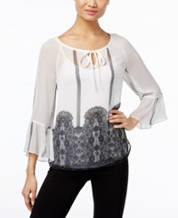 Inc International Concepts Sheer Peasant Top Only At Macy's Washed White