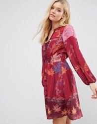 Lavand Red Floral Print Dress Bu Red