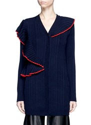 Msgm Asymmetric Ruffle Trim Rib Knit Cardigan Blue