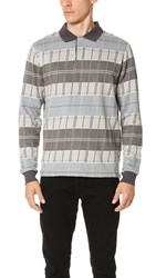 Stussy Plaid Long Sleeve Polo Shirt Grey