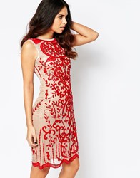 A Star Is Born Luxe Mesh Sequin Midi Dress Red