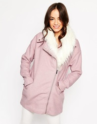 Michelle Keegan Loves Lipsy Coat With Faux Mongolian Fur Trim Pink