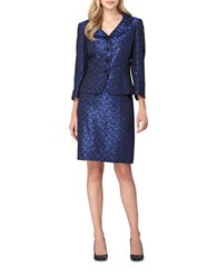 Tahari By Arthur S. Levine Portrait Neck Four Button Jacket And Skirt Suit Royal Blue
