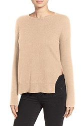 Trouve Women's Asymmetrical Hem Sweater Tan Heather