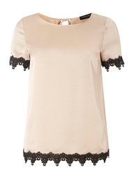 Dorothy Perkins Lace Trim Tee White
