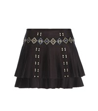 Vanessa Bruno Embroidered Plisse Cotton Miniskirt Black
