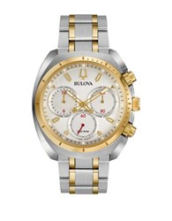 Bulova Curv Chronograph Square Stainless Steel Bracelet Watch Two Tone