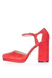 Topshop Susie Square Toe Platforms Red