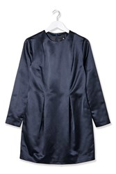 Satin Structured Dress By Boutique Navy Blue