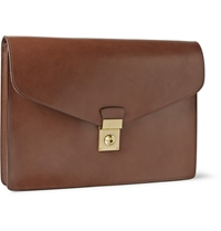 Lotuff Lock And Key Bridle Leather Document Case Brown