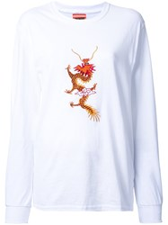 Growing Pains Dragon Embroidered T Shirt White