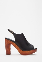 Forever 21 Faux Leather Peep Toe Platforms Black