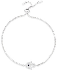 Studio Silver Cubic Zirconia Adjustable Hamza Bracelet In Sterling Silver