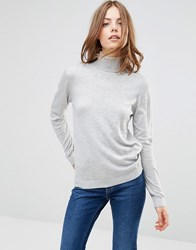 Minimum Eve Wool And Cashmere Mix Roll Neck Jumper In Light Grey N A