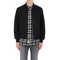 Rag And Bone Men's Bonded Jersey Varsity Jacket Black Blue Black Blue