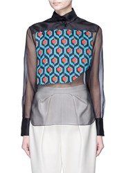 Delpozo Geometric Print Bib Silk Organza Shirt Multi Colour