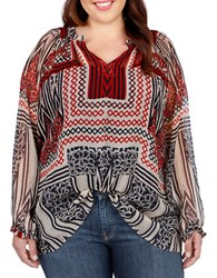 Lucky Brand Plus Plus Peasant Blouse Red Multi