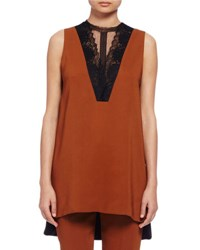 Lanvin Sleeveless Lace Inset Blouse Cinnamon