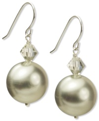Macy's Sterling Silver Earrings Shell Bead 14Mm Hematite Accent And Swarovski Element Earrings