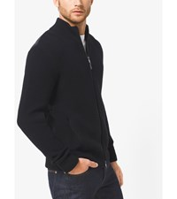 Quilted Panel Merino Wool Sweater Jacket