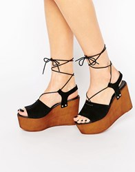 Asos Too Good Tie Up Wedge Sandals Black