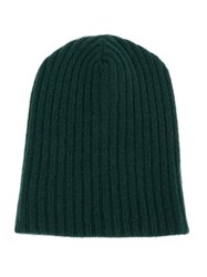 The Elder Statesman Ribbed Folded Beanie Green