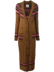 Laneus Long Cardigan Brown