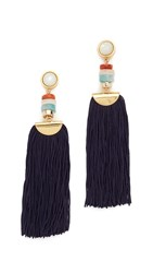 Lizzie Fortunato Indigo Tassel Earrings Gold Indigo