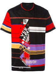 Versace Abstract Stripe T Shirt Black
