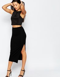 Asos Longer Length Midi Pencil Skirt With Thigh Split Black