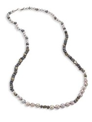 Chan Luu 6 10Mm Pearl Pyrite And Mystic Lab Strand Necklace Grey