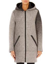 T By Alexander Wang Hooded Wool Zip Jacket Heather Gray