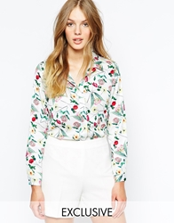 Wolf And Whistle Shirt In Floral Sprig Print Multi