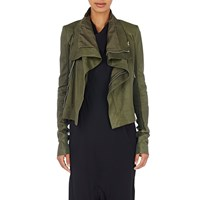 Rick Owens Leather Moto Jacket Green