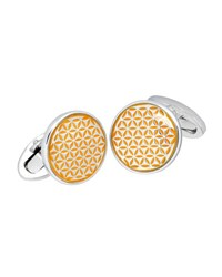 Jan Leslie Tight Flower Cuff Links Orange