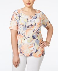 Jm Collection Woman Jm Collection Plus Size Printed Short Sleeve Top Only At Macy's April Water Floral
