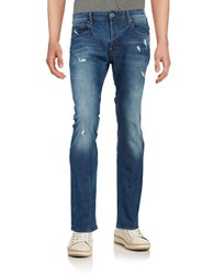 Guess Distressed Straight Leg Jeans Blue