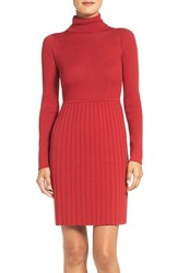 Adrianna Papell Women's Pleated Turtleneck Dress Matador Red