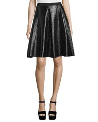 Marc Jacobs Flared Faux Leather Skirt Black