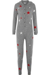 Chinti And Parker Hooded Star Intarsia Cashmere Jumpsuit Gray