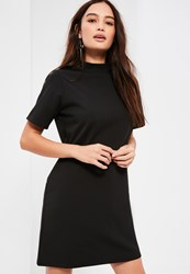 Missguided Petite Black Scuba T Shirt Dress