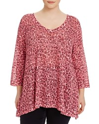 Nally And Millie Plus Leopard Print Tunic Pink Multi