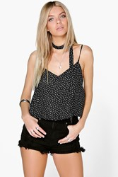 Boohoo Printed Cami Neck Tie Black